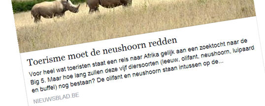 Rhino Awareness in NIEUWSBLAD.DE